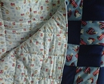 Handmade Fleece/Cotton Reversible Baby Quilt Fire