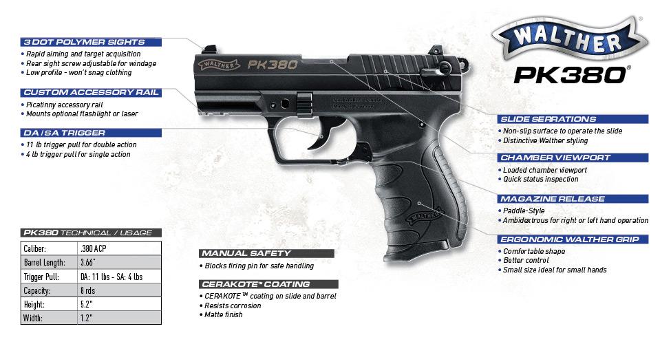walther pk380 caliber handgun