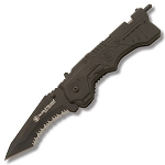 S&W First Response Knife with Magic Assisted Opening Serrated Blade, Black
