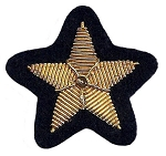 Hand Embroidered Gold Star Bullion on Black Felt - b2605GKC