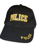 POLICE Embroidered, Black Cloth Ball Cap-Gold Lettering