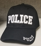 POLICE Embroidered, Black Cloth Ball Cap