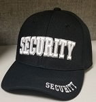 SECURITY Embroidered, Black Cloth Ball Cap