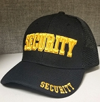 SECURITY Embroidered, Black Cloth/ mesh Ball Cap-Gold lettering