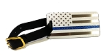 Metal Thin Blue Line Luggage Tag - Silver