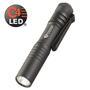 Streamlight MicroStream white LED  with alkaline batteries and lanyard - Black with white LED