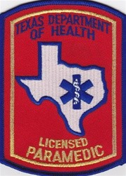 Texas Department of Health LICENSED PARAMEDIC Shoulder patch